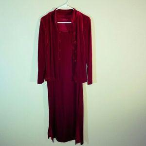 Vtg 80s Red Velvety Dress Set